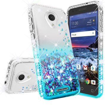 Alcatel Verso Case, U5 Case Liquid Glitter Phone Case Waterfall Floating Quicksand Bling Sparkle Cute Protective Girls Women Cover for Verso/U5 - Teal