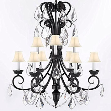 "Foyer / Entryway Wrought Iron Empress Crystal (TM) Chandelier 30"" Inches Tall With Crystal And White Shades! H 30"" x W 26"" - A84-WHITESHADES/B12/724/6+3"