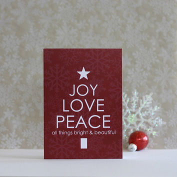 Christmas Card Typography - Joy Love Peace - Bright and Beautiful Red White Snowflake Pattern Tree