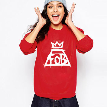 Funny hip hop fall out boy fob print sweatshirt lady hoodies cotton fashion hoody