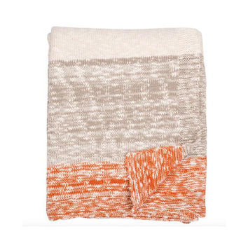 Thick and Thin Orange Knit Throw Blanket