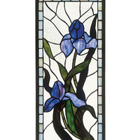 Arts and Crafts Iris Stained Glass Panel