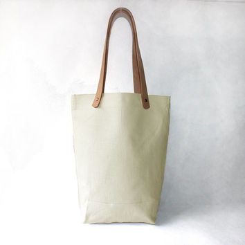 Creamy white organic linen Cotton Tote with Natural Leather Handle-Buy one,get a gift for free