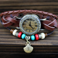Fashion beaded bracelet watch, Roman dial watch, brown leather braided bracelet watch, the best gift