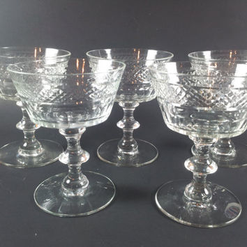 Cut Crystal Sherbets Saucer Champagnes Coupes Set of Five Mint