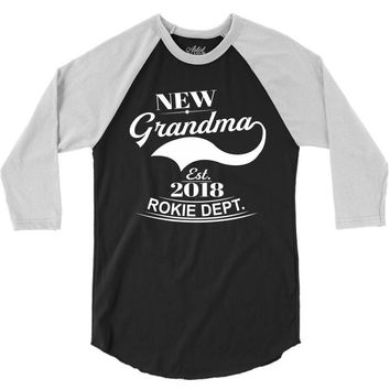 New Grandma 2018 Rokie Dept. 3/4 Sleeve Shirt