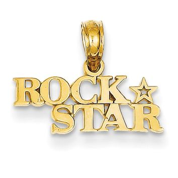 14kt Yellow Gold Polished Rock Star Marquee Girls Pendant