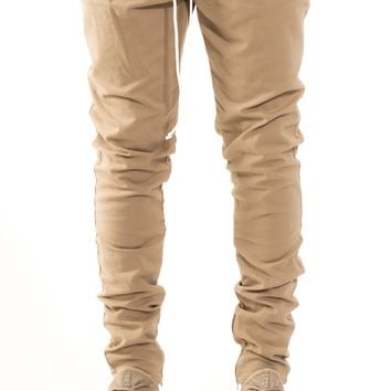 SLIM FIT DRAWSTRING TROUSERS SAND