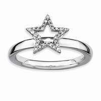 Sterling Silver Stackable Expressions Star Diamond Ring: RingSize: 7