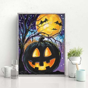 Halloween Vintage Style Pumpkin Spider Canvas Painting Print Living Room Home Decor Modern Wall Art Oil Painting Poster Artwork