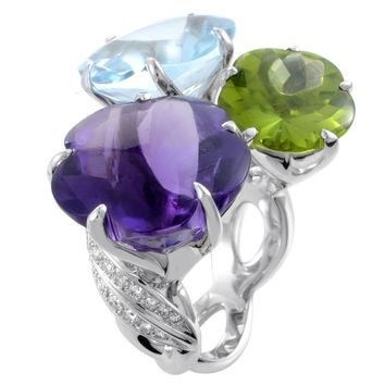 Chanel White Gold Diamond and Triple Gemstone Flower Cocktail Ring