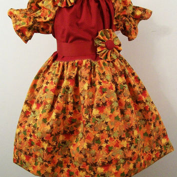Fall Peasant Girls Floral Leaves with Rust top-#292