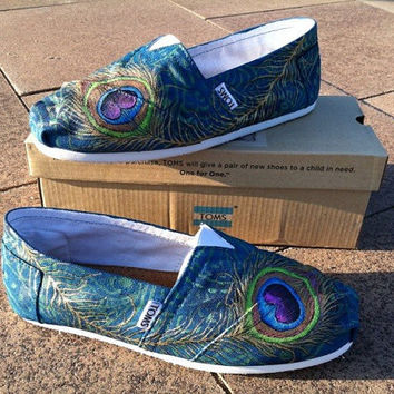 Made to Order Custom Painted TOMS Peacock Feather Shoes