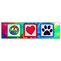 Peace, Love, Dog; Pawprint Car Bumper Sticker