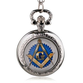 Steampunk Theme Masonic Pocket Watch With Chain Necklace