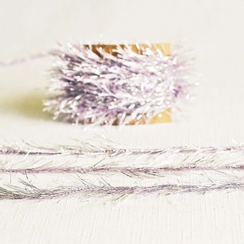Tinsel Twine in Lavender & Silver - 6 Yards - Light Baby Purple Ribbon Festive Garland Pretty Packaging Gift Wrapping Wedding Party Decor