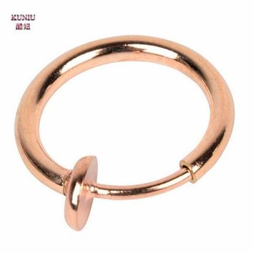 ac DCCKO2Q KUNIU 1Pair Stylish Fake Spring Action Non Piercing Nose Septum/Ear Body Jewelry Gold Silver Black Rose Gold Color