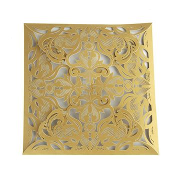 Paper Square Laser-Cut Pearlescent Scroll Swirl Invitations, Gold, 6-1/4-Inch, 8 count