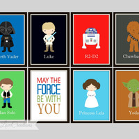 Star Wars Prints - May the force be with you Print, Boy's Room, Playroom, Star Wars Art, 5x7 Prints, Darth Vader-Princess Leia