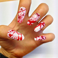 Doobys Halloween - Bloody - 20 Hand Painted False Nails Fancy Dress Gore Nurse Doctor