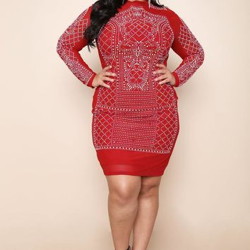 Red Studded Jewel Fashionista Party Plus Size Bodycon Dress