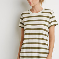 Cuffed-Sleeve Stripe Tee
