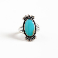 Vintage Sterling Silver Turquoise Blue Stone Ring - Size 5 Retro Southwestern Statement Native American Style Studded Triple Split Jewelry