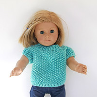 Doll Summer Sweater in Light Turquoise With Short Sleeves, Hand Knitted Pullover for 18-Inch Dolls Like American Girl