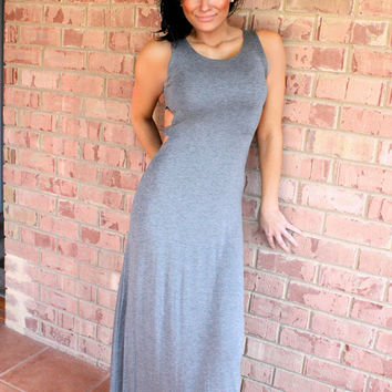 The Classy Sassy Side Cut out Heather Grey Maxi Dress