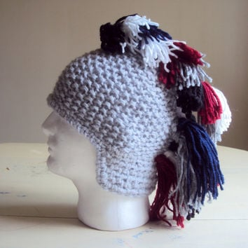 Knit Mohawk Hat Ear Flaps Team Colors Beret Beanie Gladiator Hat Roman Helmet Men Women Made to Order