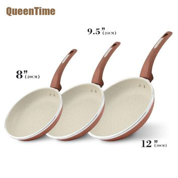QueenTime 3pcs/set Aluminum Frying Pans & Skillets Coating Frying Pan Professional Cooking Skillets Gas Cooker Use Kitchen Tools