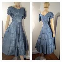 Blue Bow Gown 50s Sweetheart Short Sleeve Taffeta Cocktail Party Prom Dress Vintage - TREASURY ITEM  - Free Shipping