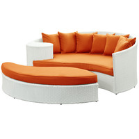 Taiji Outdoor Wicker Patio Daybed with Ottoman White / Orange