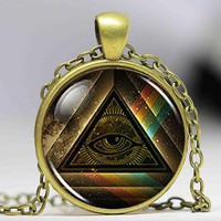 All Seeing Eye Pyramid Pendant Chain [Multiple Colors]