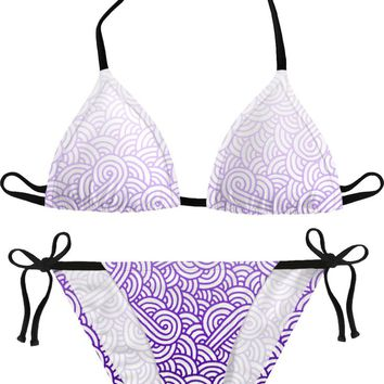 Gradient purple and white swirls doodles Bikini