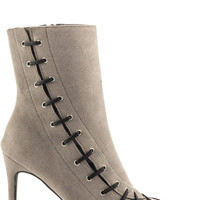 Stitch Velvet Bootie - Grey
