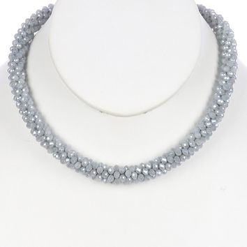 Gray Iridescent Micro Bead Crocheted Rope Necklace