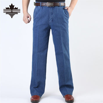 Jeans Man Middle-aged Denim Jeans Casual Middle Waist Loose Long Pants Male Solid Straight Jeans For Men Classical Size 40 42