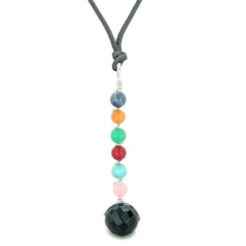 Chakra Wish Bead Amulet Faceted Onyx Colorful Gemstones Lucky Charm Pendant Adjustable Necklace
