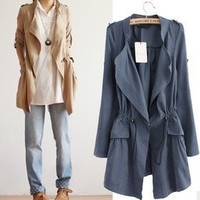 Autumn New Outfit New Lady Windbreaker Elastic Slim Waist Long Sleeve leisure Solid Color coat Jacket G133