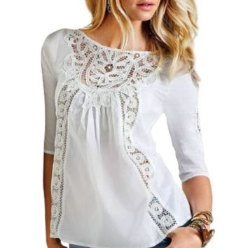 White Lace Patchwork Sleeve Shirt
