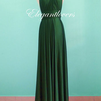 Dark Olive Wedding Dress Bridesmaid Dress Infinity Dress Wrap Dress  Formal Dress Sexy Evening Dress Cocktail Dress Party Dress