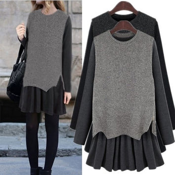 High Quality Womens Loose Slim Two Piece Knit Casual Mini Long Sleeve Dress Plus Size XL XXL 3XL 4XL 5XL 2 Colors = 1958265156