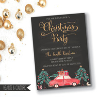 Christmas Party Invitation, Christmas Party Invite, Christmas Party Printable, Chalkboard Christmas Party,Watercolor Christmas,DIY Printable