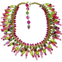 Vintage Italy Couture Necklace Assunta Giovanna Crystal Murano Glass Bib