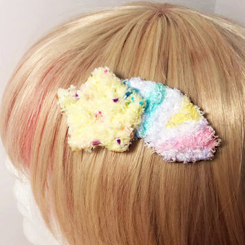 Kawaii Fairy Kei Spank Pop Kei Harajuku Lolita Decora Pastel Goth Shooting Star Rainbow Fuzzy Hair Clip Brooch