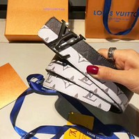LV Belt More Print Blue White Print Two Edge Contrast Belt Metal Buckle B-AGG-CZDL White/Black