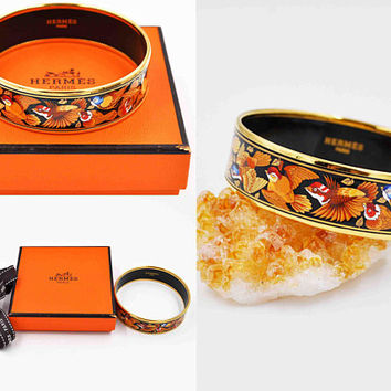 "Vintage Hermès Paris Enamel Bangle Bracelet, Flying Soaring Birds, Leaves, Black, Multicolor, Wide, Small Size, 2 3/8"", Box #c511"