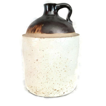 Primitive Stoneware Crock, Old Fashioned Moonshine Jug,  Antique Brown Stoneware Jug, Rustic Chic