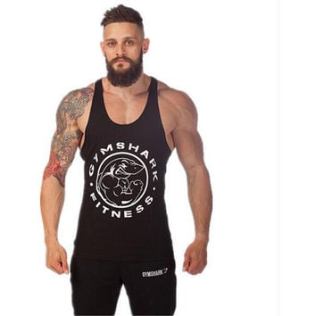 Men's Summer Bodybuilding Stitching Muscle Shark Tank Tops Fitness Cotton Clothing